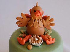 Custom Cake Topper - Turkey w/Thanksgiving Pie (For your Holiday Cake). $40.00, via Etsy.