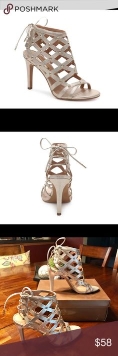 "Audrey Brooke Heel/Sandal Adorable stud embellished sandal! Features:                    Metallic faux leather upper Back ghillie lace-up Stud embellishments 4"" covered stiletto Synthetic sole Audrey Brooke Shoes Heels"