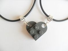 """Dark Gray Lego Heart girlfriend, boyfriend,friends necklace SET   that is adjustable from 18"""" to 20""""  Each necklace has half the heart and added together they make the heart.  We only use NEW Lego bricks not like other sellers that do not. Shipping cost of all our items world wide is FREE ..."""