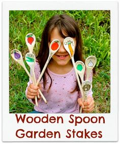 wooden spoon garden stakes. Awesome idea for our garden at the daycare.