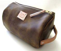 Mens Walnut Brown Leather Shaving Bag Large by SanFilippoLeather, $110.00 men's fashion