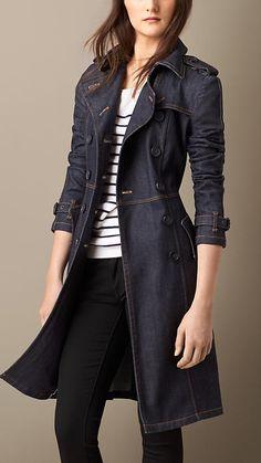 Burberry - Indigo Trench-coat structuré en denim japonais