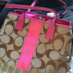 Coach Purse Brown and hot pink signature canvas coach bag. Never used. Coach Bags Satchels