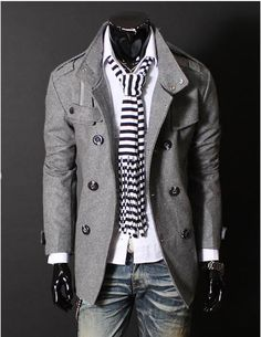Can winter get here sooner? I want this coat! - Outfit Inspiration for him; gray wool jacket, white top, scarf, medium wash jeans