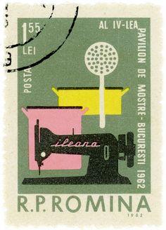 Romania postage stamp: needlework  c. 1962