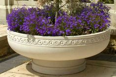 Romanesque Bowl Planter is heavily influenced by the Romanesque style with coin moulding motifs in a band geometrically running around the rim. Garden Planters, Planter Pots, Contemporary Planters, Garden Globes, Cement Art, Stone Fountains, Cast Stone, Garden Features, Garden Structures