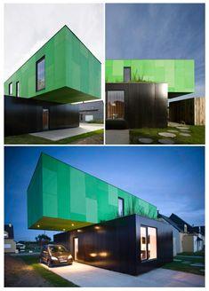 grün fassade container haus design innovativ avantgardistisch