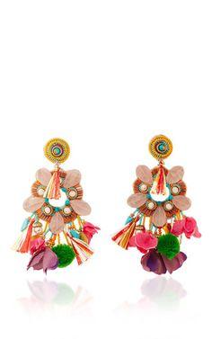 Rose Quartz Fringe Earrings by RANJANA KHAN for Preorder on Moda Operandi