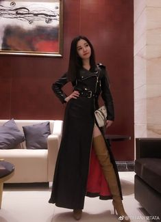 Cheap Women S Fashion Cowboy Boots Product Long Leather Skirt, Long Leather Coat, High Leather Boots, Sexy Outfits, Fashion Outfits, Cheap Fashion, Fashion Trends, Thigh High Boots Heels, Knee Boots