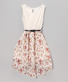 Look what I found on #zulily! Btween Ivory & Coral Floral Lace Belted Hi-Low Dress by Btween #zulilyfinds