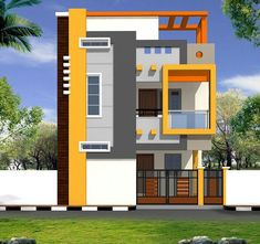 House Front Wall Design, Single Floor House Design, Small House Design, Modern House Design, Front Porch Design, Indian House Exterior Design, House Paint Exterior, 3 Storey House Design, Bungalow House Design