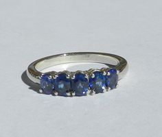 Natural 1.17 Carat Ceylon sapphire 5 Stone Ring 14kt Solid Gold W/ GIA G.J.G. Appraisal by bluefirejewelry on Etsy