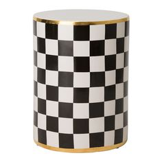 Our Emissary Torino Checker Garden Stool Black & White with Gold features a charming black and white stripe design with glistening gold band on top and bottom of this artful piece. This stool adds a touch of mystery and exotic appeal to your space. Set this elegant garden stool in the sunroom to display a potted plant, or place it beside the bath tub as a spot to stack fluffy towels.