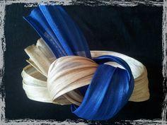 Items similar to Bibi - Celine headband in ivory and blue klein silk sinamay on Etsy Turbans, Celine, Facinator Hats, Sisal, Headbands, Creations, Fashion Hats, Couture, Headpieces