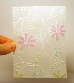 how to watercolor embossed vellum - cuttlebug .... We used this in our card ministry group. It was very simple and elegant.