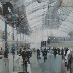 ARTFINDER: Brighton Station, mid morning 3 Jan  by Julian Sutherland-Beatson - Part of my new 'At Home and Abroad' daily painting project comprising acrylic paintings of the countryside, coastline and urban areas of the UK and abroad. T...
