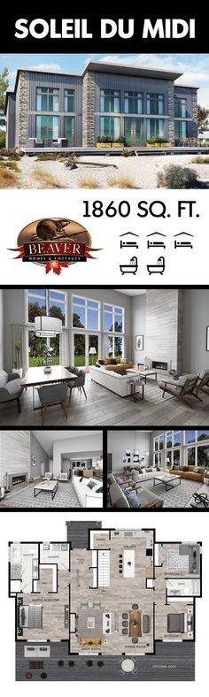 Ideal for any beach front property with a grand wall of windows that provides co - Smart House - Ideas of Smart House - Ideal for any beach front property with a grand wall of windows that provides countless breathtaking views. Lake House Plans, Dream House Plans, Cabin Plans, Small House Plans, House Floor Plans, Beaver Homes And Cottages, Plan Chalet, Casa Loft, Rustic Home Design