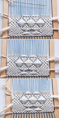 Weft Over Hour Glass Pattern Tutorial Weaving Loom Diy, Weaving Art, Tapestry Weaving, Hand Weaving, Weaving Textiles, Weaving Patterns, Stitch Patterns, Knitting Patterns, Weaving Projects