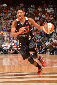 Angel McCoughtry wearing Nike Kobe 8 System Challenge Red