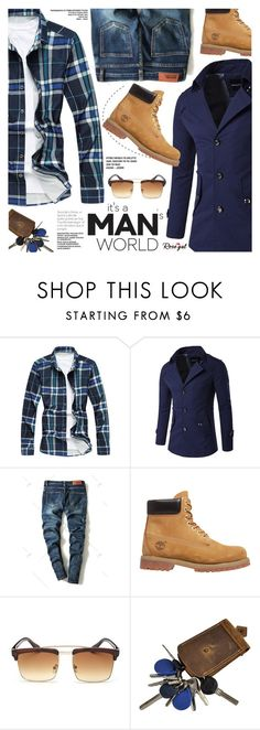 """Rosegal:It's a Man's World"" by pokadoll ❤ liked on Polyvore featuring Timberland, polyvoreeditorial and polyvoreset"