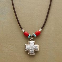 TRADE ROUTES NECKLACE -- Trading customs of yore inspired Naomi Herndon's design. Sterling silver cross