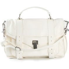 Proenza Schouler Medium PS1 Shoulder Bag ($1,673) ❤ liked on Polyvore featuring bags, handbags, shoulder bags, white, white envelope clutch, proenza schouler handbag, proenza schouler purse, white purse and clasp purse