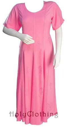 Pink Rose Catriona Empire Flare Boho Godet Gypsy Peasant Long Dress Gown - Pink - Shop by Color - Dresses