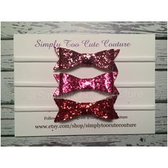 Pink Fuchsia Red Chunk Glitter Bow by SimplyTooCuteCouture on Etsy