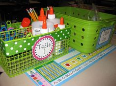 table supply bins- I don't think I could love this any more!