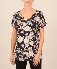 Look what I found on #zulily! Navy & Light Blue Floral V-Neck Tee…