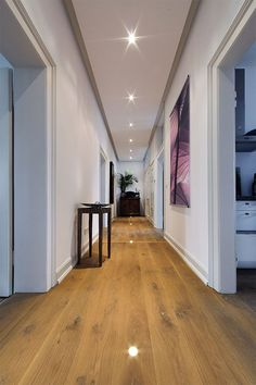 Solid wood planks - High quality solid planks- Massivholzdielen – Hochwertige massive Dielen Solid oak floorboards in the hallway with lighting. Real wood parquet from solid planks is a special eye-catcher. Wood Parquet, Solid Wood Flooring, Wood Planks, Hardwood Floors, Hallway Lighting, Accent Lighting, Real Wood, Solid Oak, Home Accents