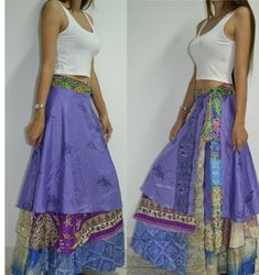 3 Layers Long Wrap skirt India Sari Hippie Violet Lavender classic M - 2X