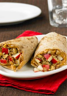 Peanut Butter Apple Wraps...these wraps are popular with both kids and adults and is a healthier option with apples, peanut butter and wheat flour tortillas! Eat them cold or slightly warmed.