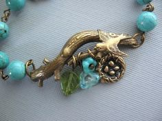 Love Nest Bird Bracelet Turquoise Bracelet by CharmedValley