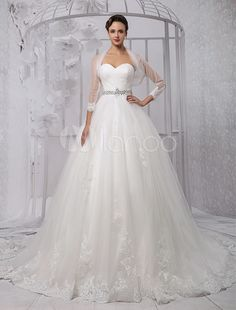 Ball-Gown Sweetheart Chapel Train Tulle Wedding Dress With Ruffle Beading Sequins