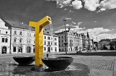 Golden fountain on the square in Pilsen Stock Photos, Creative, Artwork, Inspiration, Biblical Inspiration, Work Of Art, Auguste Rodin Artwork, Artworks