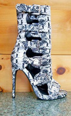 Nelly Lola Black & White Snake Buckle Boot