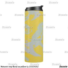 Nature's way floral on yellow thermal tumbler Beverages, Drinks, Custom Tumblers, Yellow Background, Travel Mug, Water Bottle, Mugs, Floral, Drinking