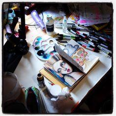 Keeping my desk tidy... not my forte. #messydesk #mixedmedia #artist #irisimpressionsart