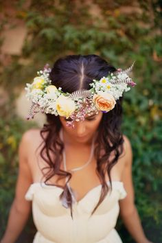 crown made out of flowers. #wedding