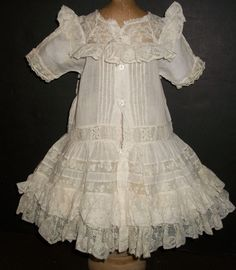 Beautiful Antique Batiste Doll Dress, French / German from joysofyesterday on Ruby Lane