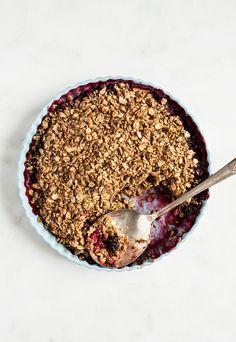 Berry Peach Chickpea Flour Breakfast Crisp | The Full Helping