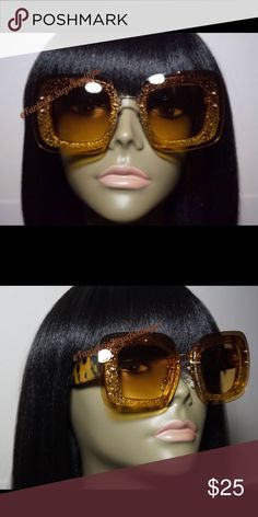 """Sprinkle My Glitter"" Brown and gold ombré sunglasses Accessories Sunglasses"