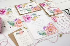 Water colours floral wedding stationery -
