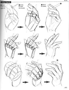 "Anatomy Drawing Tutorial Hand poses - Graphic Sha's ""How to Draw Manga: Drawing Yaoi"" - Holding a cigarette - - Drawing Skills, Drawing Lessons, Drawing Techniques, Drawing Tips, Drawing Hands, Drawing Poses, Hand Drawings, Drawing Ideas, Basics Of Drawing"