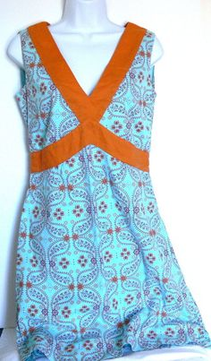 Fossil Cotton Empire Waist Sleeveless Floral Paisley Dress Side Zipper Sz 6…