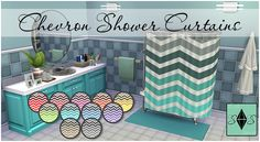 Chevron Shower Curtains• 11 Colors • Base game compatible • Non-default • Design tool compatible • Custom Thumbnails • Play tested Credits: Sims 4 Studio, Photoshop, Society6 TOU: Please don't claim as your own and don't re-upload. Thanks! D o w n l...