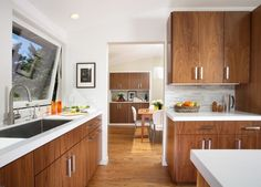 Kitchen, Hardwood Kitchen Cabinets With Stainless Steel Handles A Large Sink With Single Faucet Hardwood Flooring For Kitchen Area ~ Mid Century Modern Kitchen Cabinets Recommendation