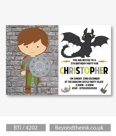 Personalised How To Train Your Dragon Invitations.  Printed on Professional 300 GSM smooth card with free envelopes & delivery as standard. www.beyondtheink.co.uk
