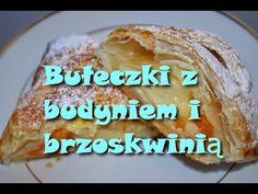 Bułeczki z ciasta francuskiego z budyniem i brzoskwinią W kuchni u Moniki - YouTube Youtube, Desserts, Tailgate Desserts, Deserts, Postres, Dessert, Youtubers, Youtube Movies, Plated Desserts